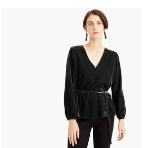 J. Crew Faux Wrap Top in Drapey Velvet Black NWT 8